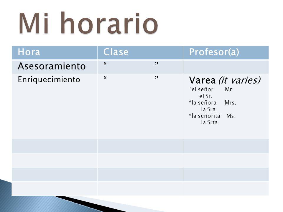 """HoraClaseProfesor(a) Asesoramiento"""" """" Enriquecimiento """" """"Varea (it varies) *el señor Mr. el Sr. *la señora Mrs. la Sra. *la señorita Ms. la Srta."""