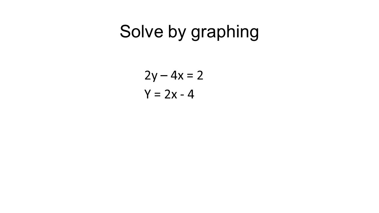 Solve by substitution 2x – y = -4 -3x + y = -9