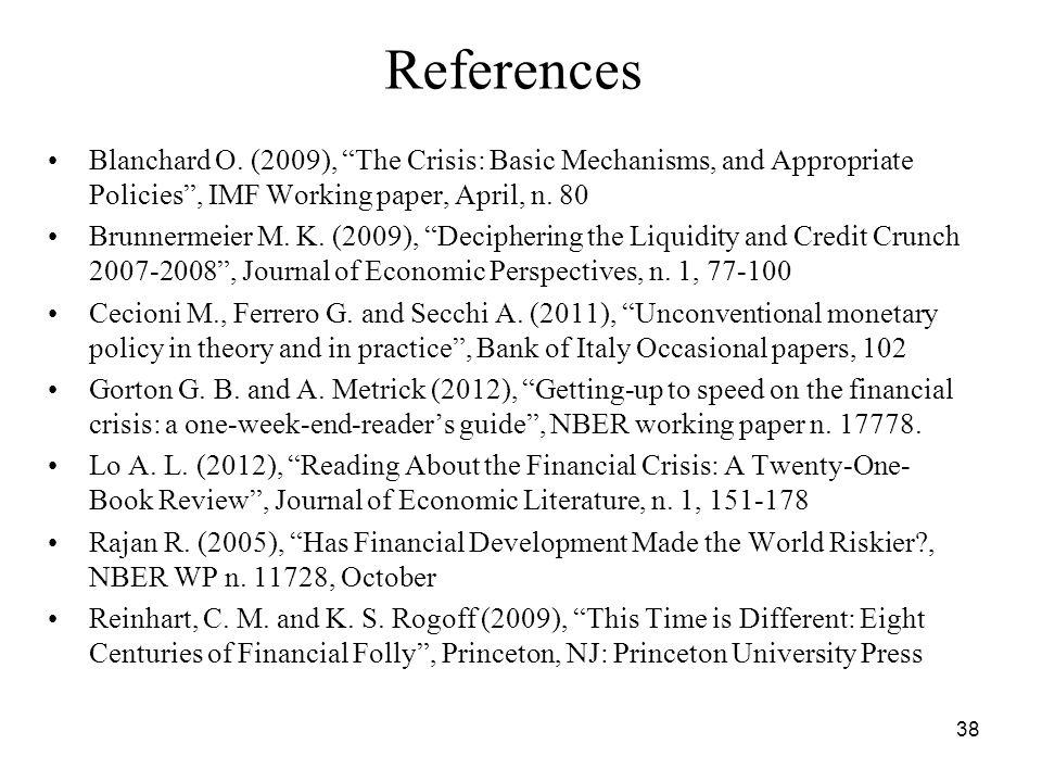 38 References Blanchard O.