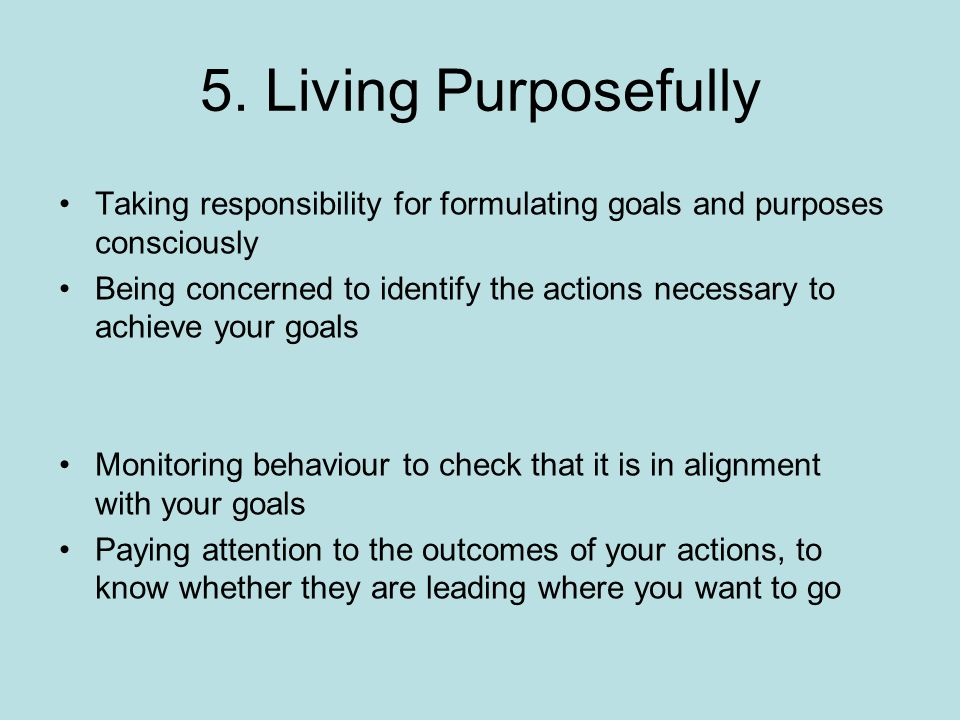 5. Living Purposefully Taking responsibility for formulating goals and purposes consciously Being concerned to identify the actions necessary to achie
