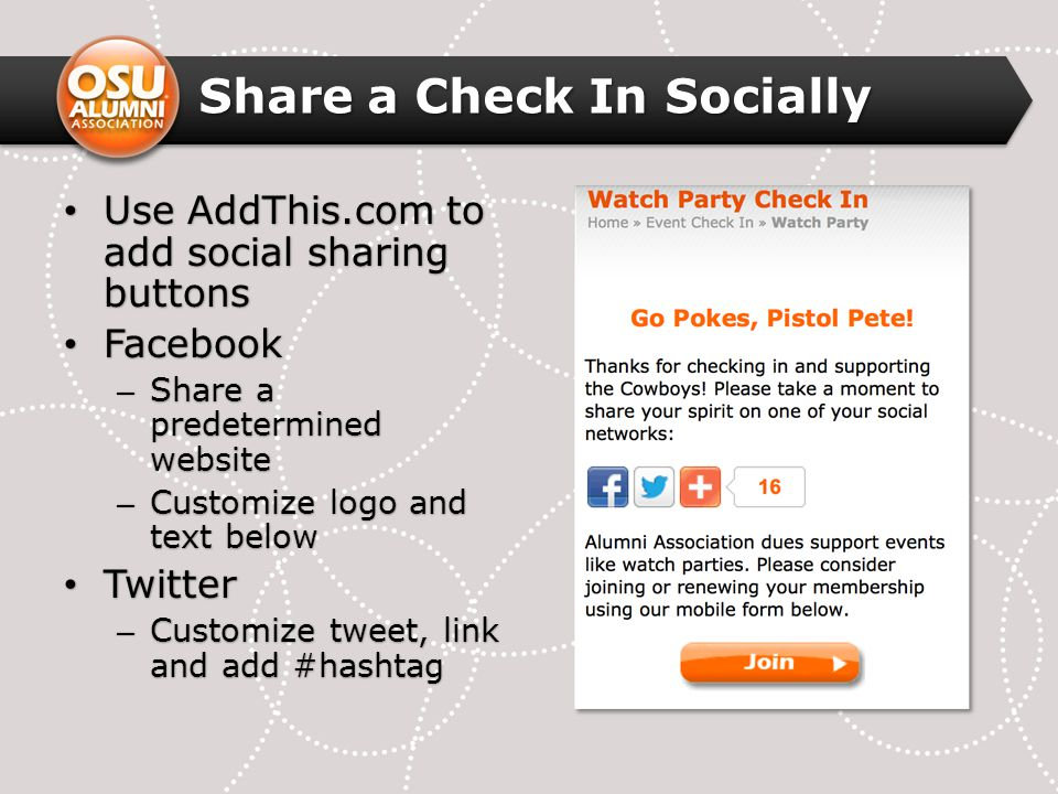 Share a Check In Socially Use AddThis.com to add social sharing buttons Use AddThis.com to add social sharing buttons Facebook Facebook – Share a predetermined website – Customize logo and text below Twitter Twitter – Customize tweet, link and add #hashtag