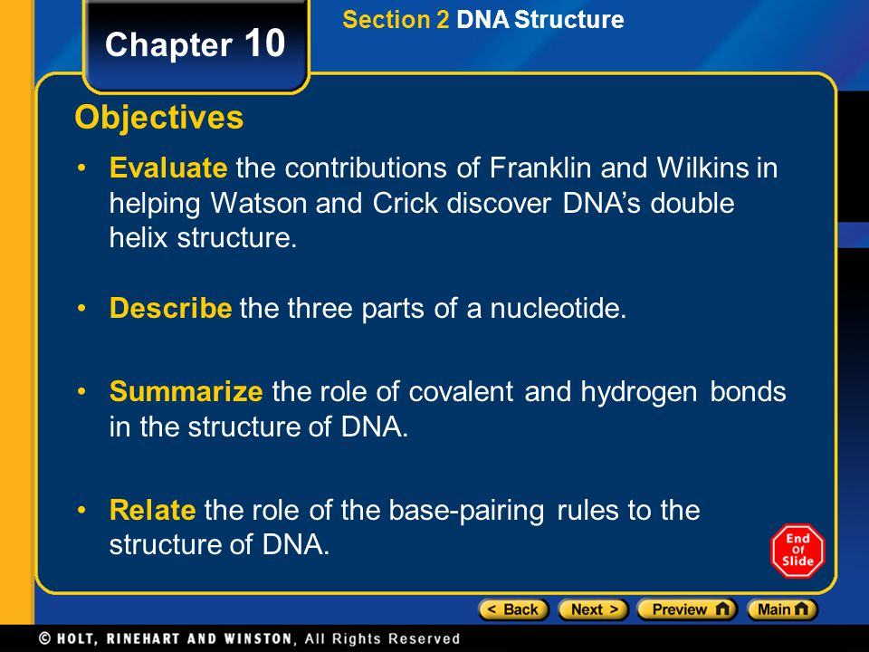 Section 2 DNA Structure Chapter 10 Objectives Evaluate the contributions of Franklin and Wilkins in helping Watson and Crick discover DNA's double hel