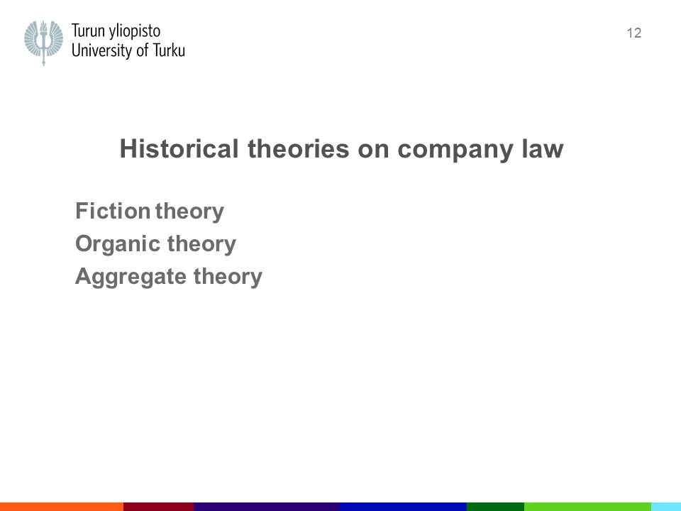 12 Historical theories on company law Fiction theory Organic theory Aggregate theory