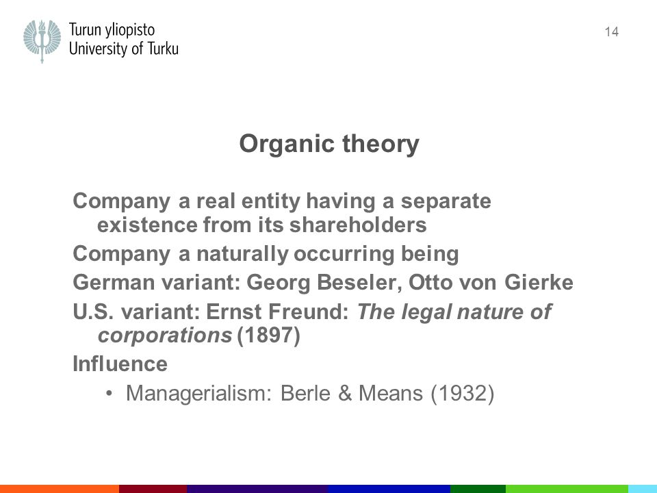14 Organic theory Company a real entity having a separate existence from its shareholders Company a naturally occurring being German variant: Georg Beseler, Otto von Gierke U.S.