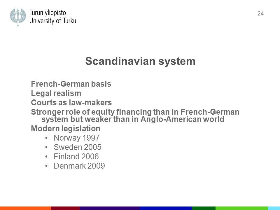 24 Scandinavian system French-German basis Legal realism Courts as law-makers Stronger role of equity financing than in French-German system but weaker than in Anglo-American world Modern legislation Norway 1997 Sweden 2005 Finland 2006 Denmark 2009