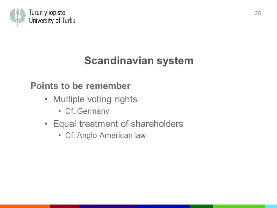 25 Scandinavian system Points to be remember Multiple voting rights Cf.