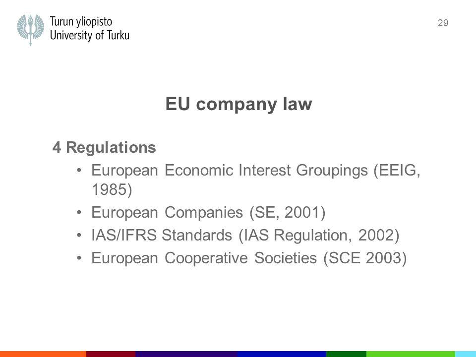29 EU company law 4 Regulations European Economic Interest Groupings (EEIG, 1985) European Companies (SE, 2001) IAS/IFRS Standards (IAS Regulation, 2002) European Cooperative Societies (SCE 2003)