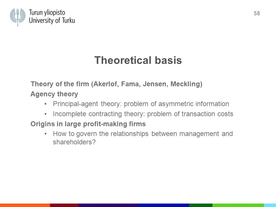 58 Theoretical basis Theory of the firm (Akerlof, Fama, Jensen, Meckling) Agency theory Principal-agent theory: problem of asymmetric information Incomplete contracting theory: problem of transaction costs Origins in large profit-making firms How to govern the relationships between management and shareholders