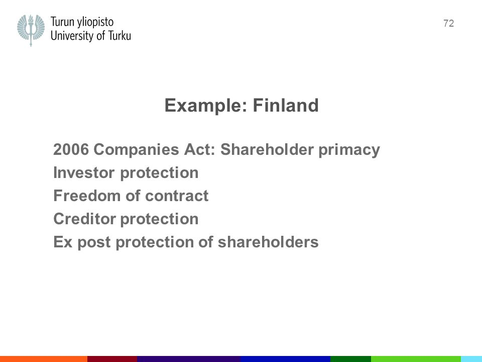 72 Example: Finland 2006 Companies Act: Shareholder primacy Investor protection Freedom of contract Creditor protection Ex post protection of shareholders