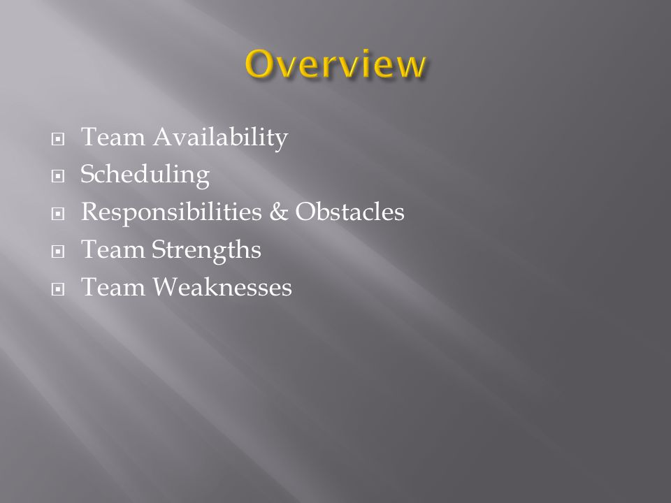  Team Availability  Scheduling  Responsibilities & Obstacles  Team Strengths  Team Weaknesses