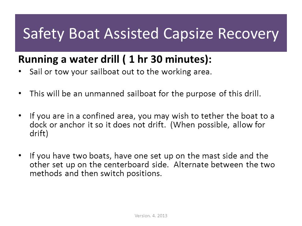 Running a water drill ( 1 hr 30 minutes): Sail or tow your sailboat out to the working area.