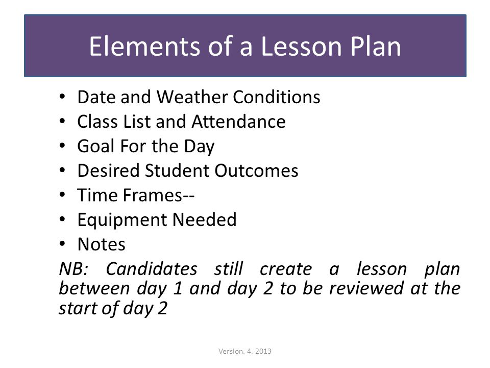 Elements of a Lesson Plan Date and Weather Conditions Class List and Attendance Goal For the Day Desired Student Outcomes Time Frames-- Equipment Needed Notes NB: Candidates still create a lesson plan between day 1 and day 2 to be reviewed at the start of day 2 Version.