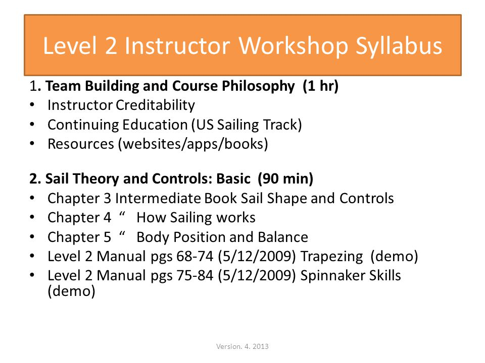 Level 2 Instructor Workshop Syllabus 1.