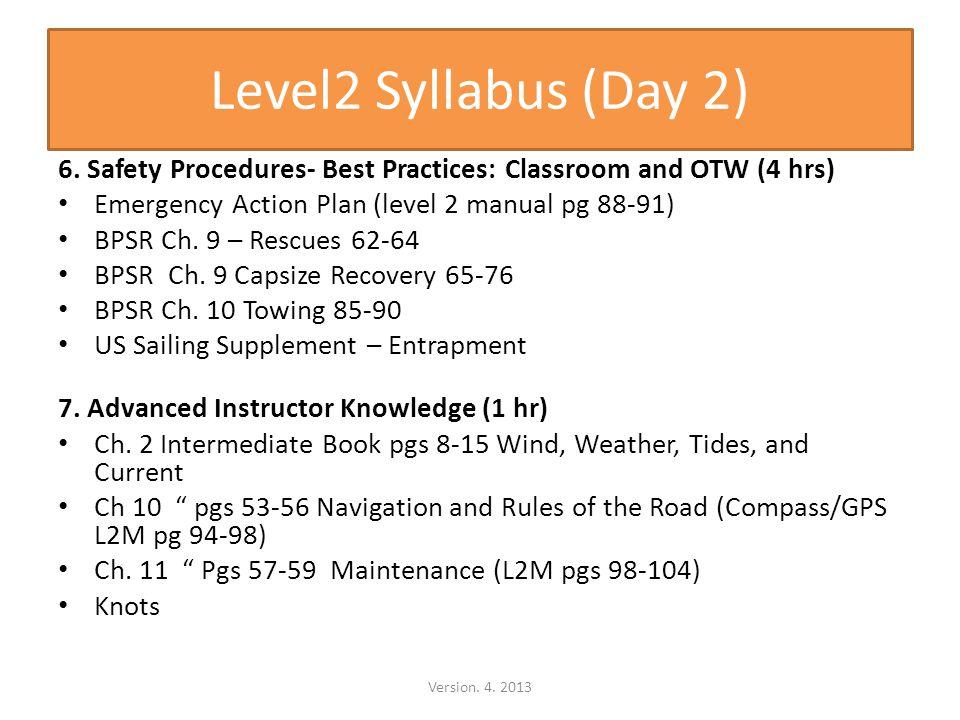 Level2 Syllabus (Day 2) 6.