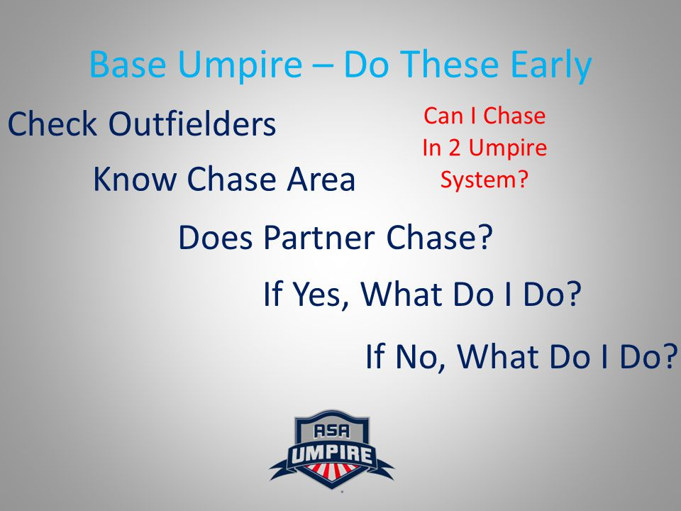 Base Umpire – Do These Early Check Outfielders Know Chase Area Does Partner Chase.