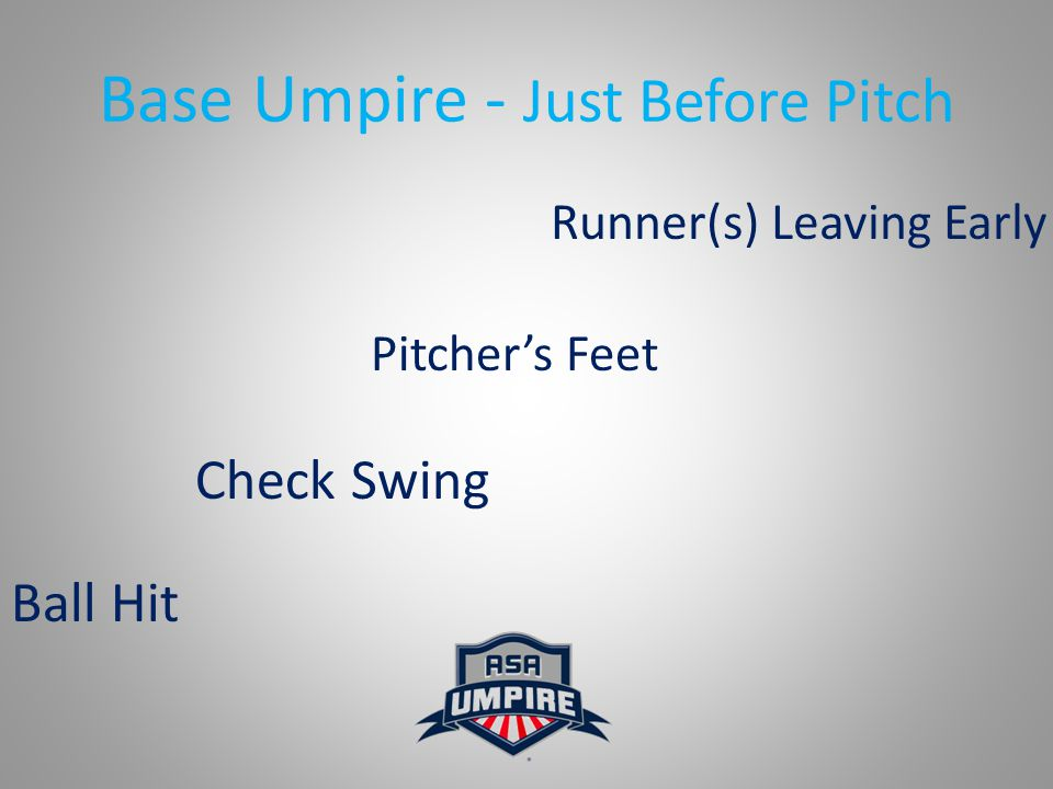 Base Umpire - Just Before Pitch Pitcher's Feet Runner(s) Leaving Early Check Swing Ball Hit