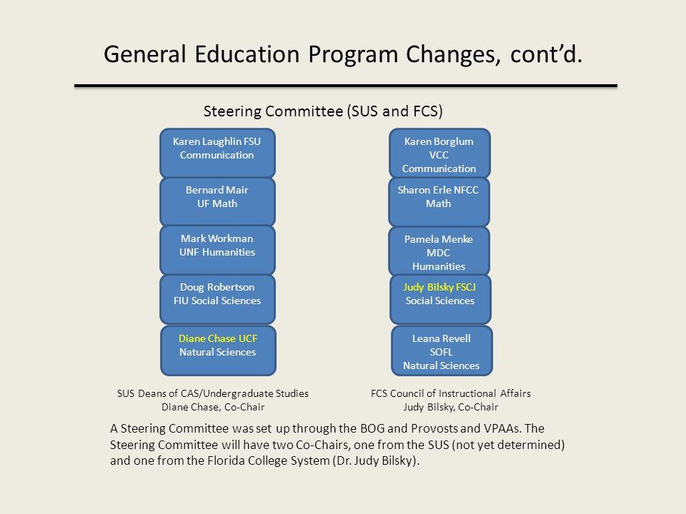 General Education Program Changes, cont'd.