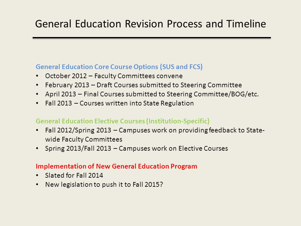 General Education Revision Process and Timeline General Education Core Course Options (SUS and FCS) October 2012 – Faculty Committees convene February