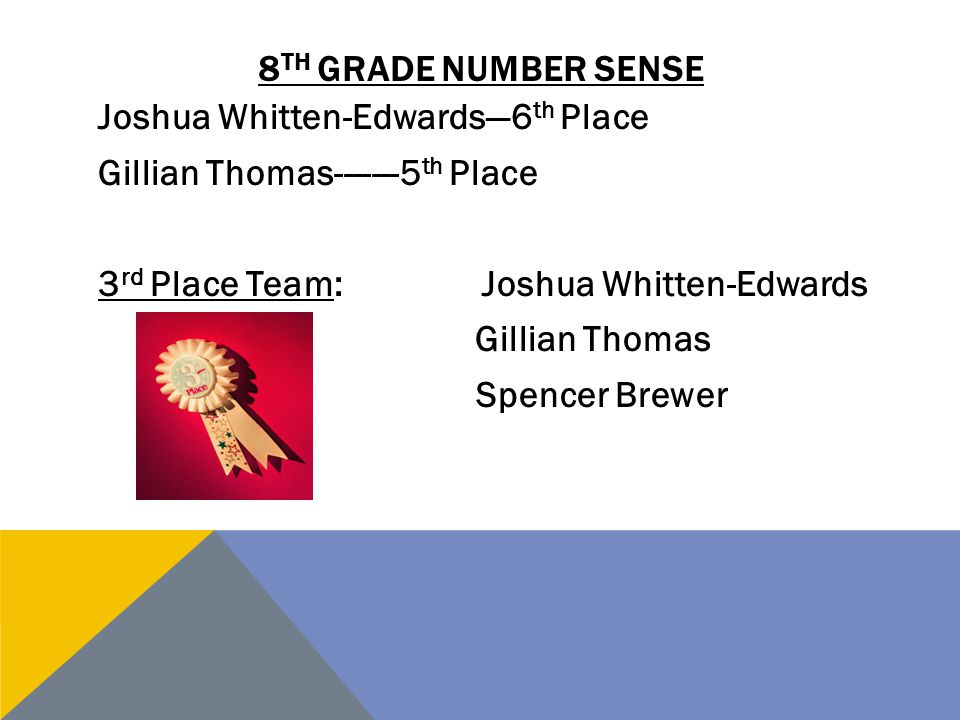 8 TH GRADE NUMBER SENSE Joshua Whitten-Edwards—6 th Place Gillian Thomas-------5 th Place 3 rd Place Team:Joshua Whitten-Edwards Gillian Thomas Spence