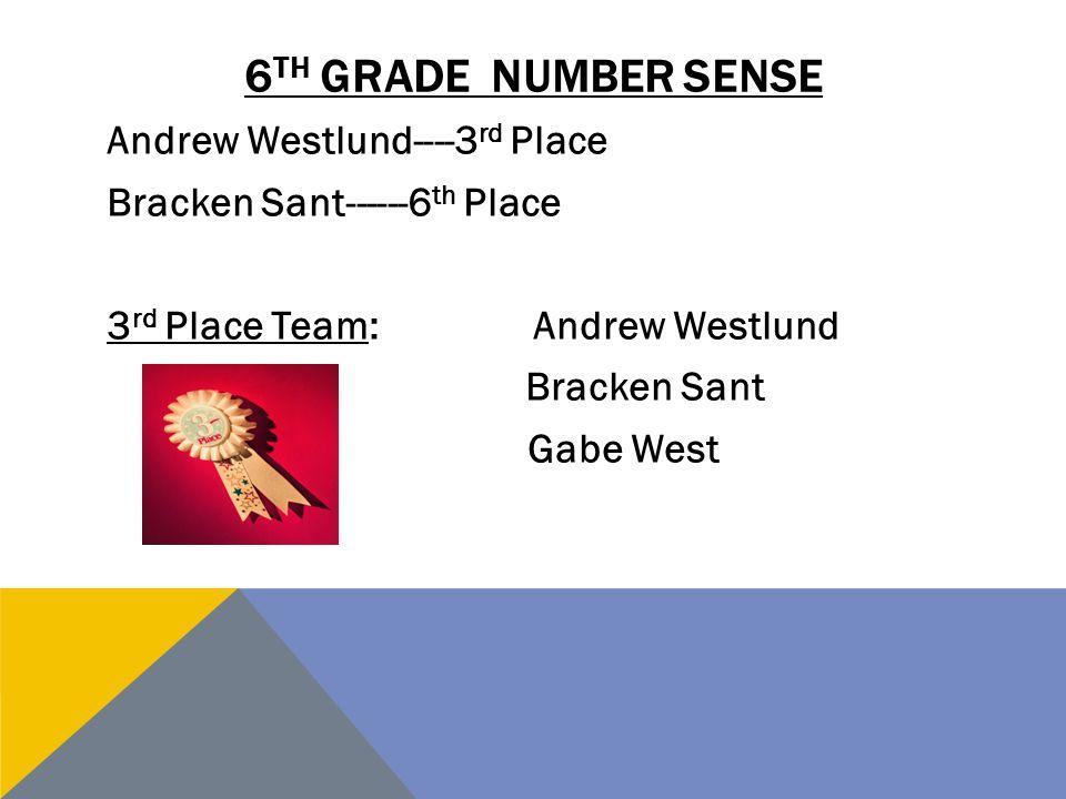 6 TH GRADE NUMBER SENSE Andrew Westlund----3 rd Place Bracken Sant------6 th Place 3 rd Place Team:Andrew Westlund Bracken Sant Gabe West