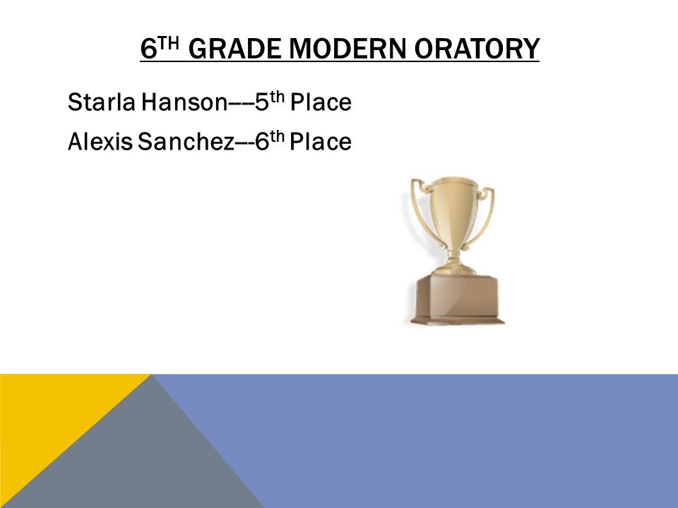 6 TH GRADE MODERN ORATORY Starla Hanson----5 th Place Alexis Sanchez---6 th Place