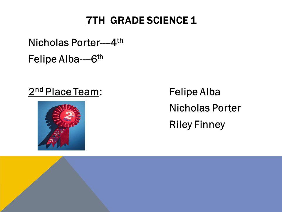 7TH GRADE SCIENCE 1 Nicholas Porter----4 th Felipe Alba----6 th 2 nd Place Team:Felipe Alba Nicholas Porter Riley Finney