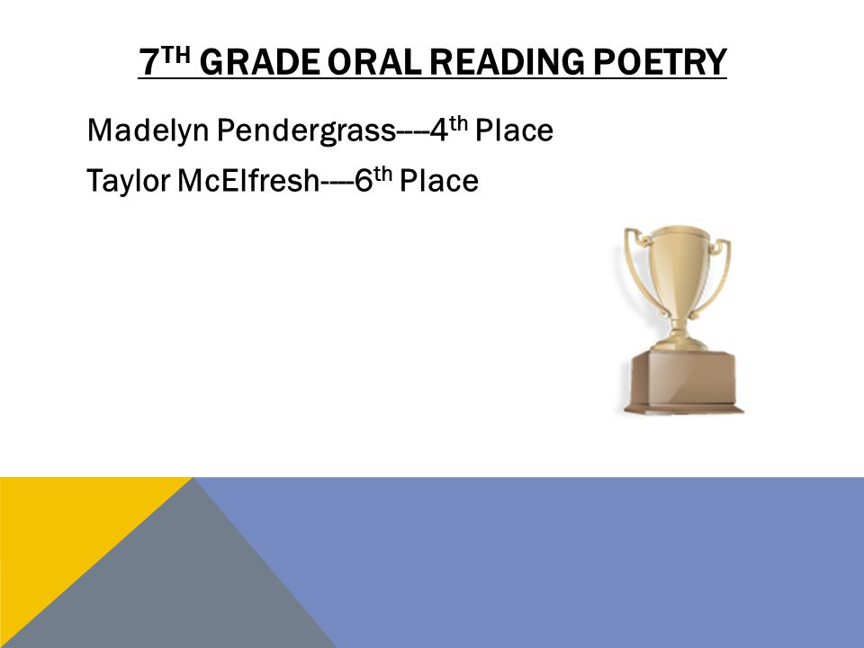 7 TH GRADE ORAL READING POETRY Madelyn Pendergrass----4 th Place Taylor McElfresh----6 th Place