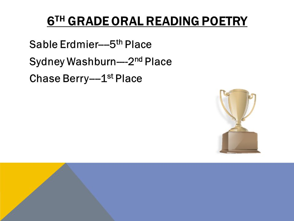 6 TH GRADE ORAL READING POETRY Sable Erdmier----5 th Place Sydney Washburn----2 nd Place Chase Berry----1 st Place