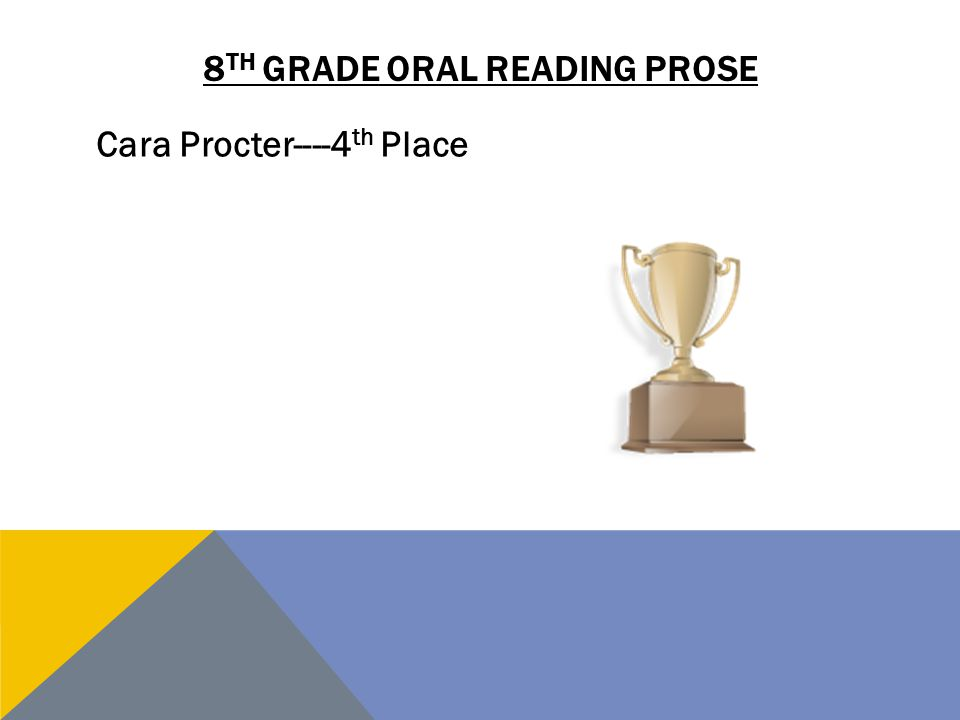 8 TH GRADE ORAL READING PROSE Cara Procter----4 th Place