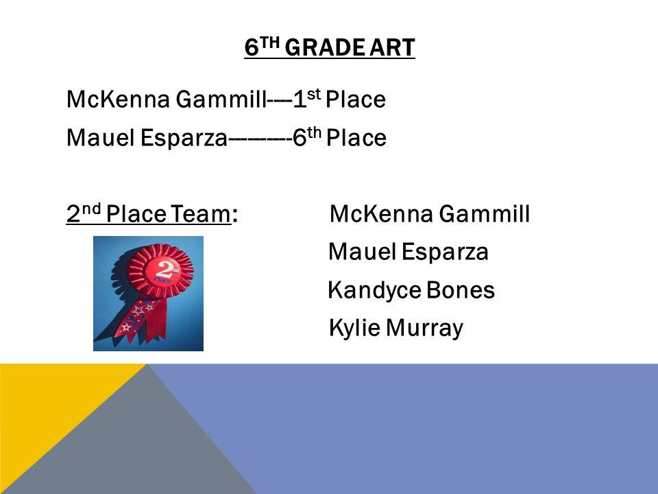 6 TH GRADE ART McKenna Gammill----1 st Place Mauel Esparza----------6 th Place 2 nd Place Team:McKenna Gammill Mauel Esparza Kandyce Bones Kylie Murra