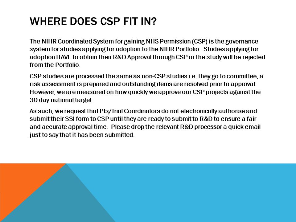 WHERE DOES CSP FIT IN.