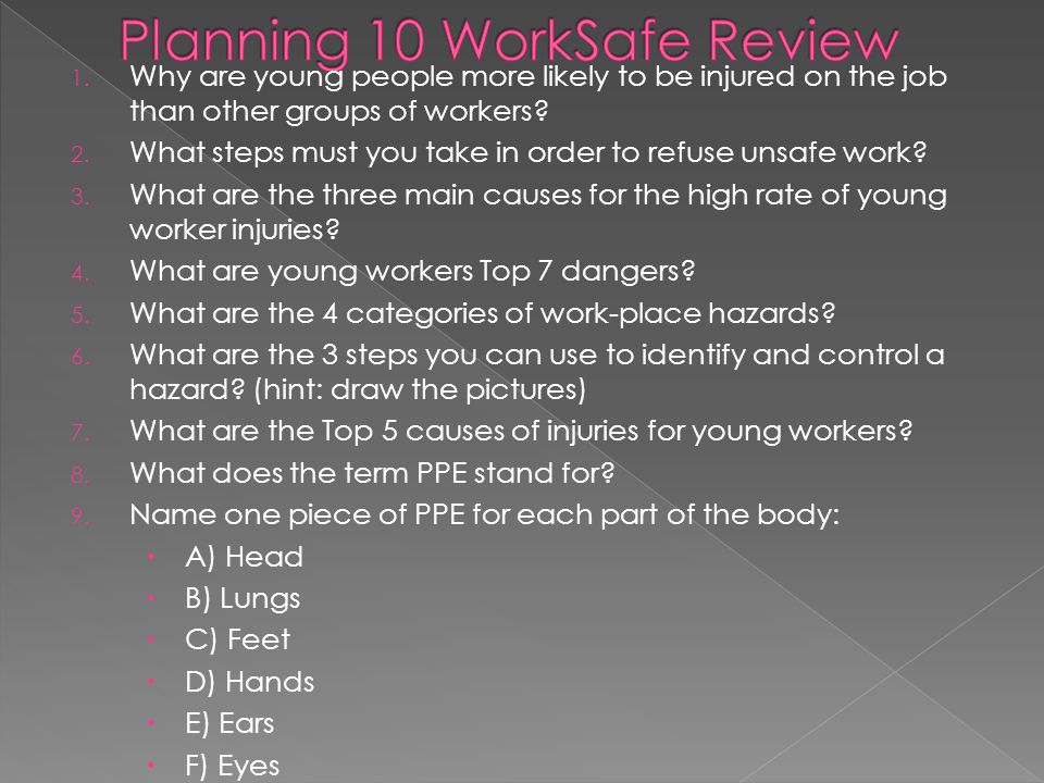 1. Why are young people more likely to be injured on the job than other groups of workers? 2. What steps must you take in order to refuse unsafe work?