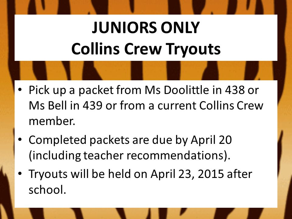 Now posted on LMS and KCHS website ATTENTION: SENIORS