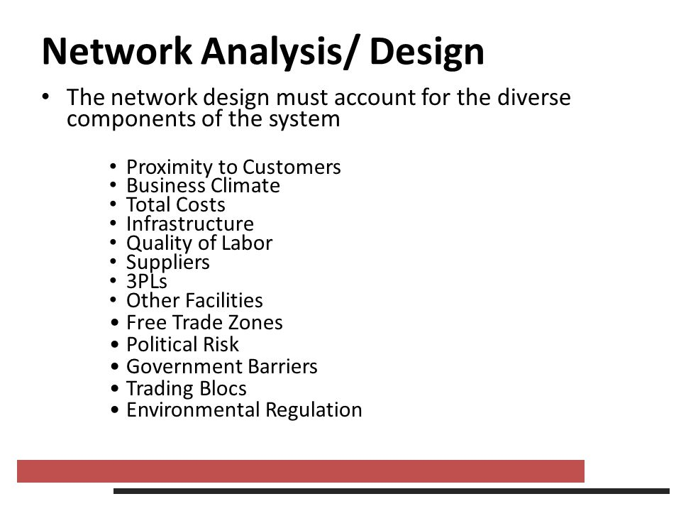 Network Analysis/ Design The network design must account for the diverse components of the system Proximity to Customers Business Climate Total Costs
