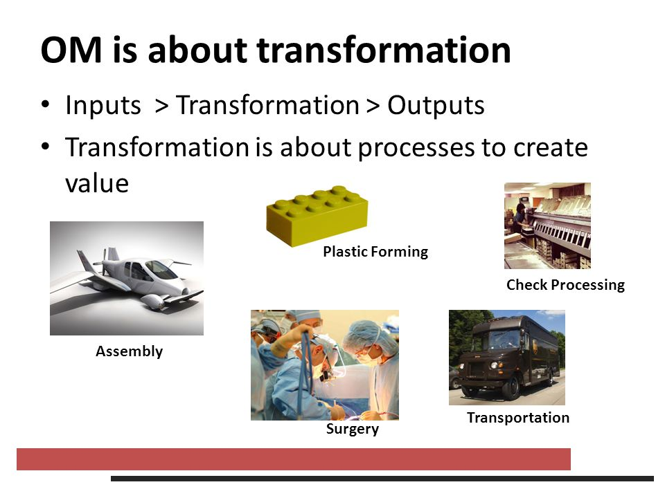 OM is about transformation Inputs > Transformation > Outputs Transformation is about processes to create value Assembly Plastic Forming Surgery Check