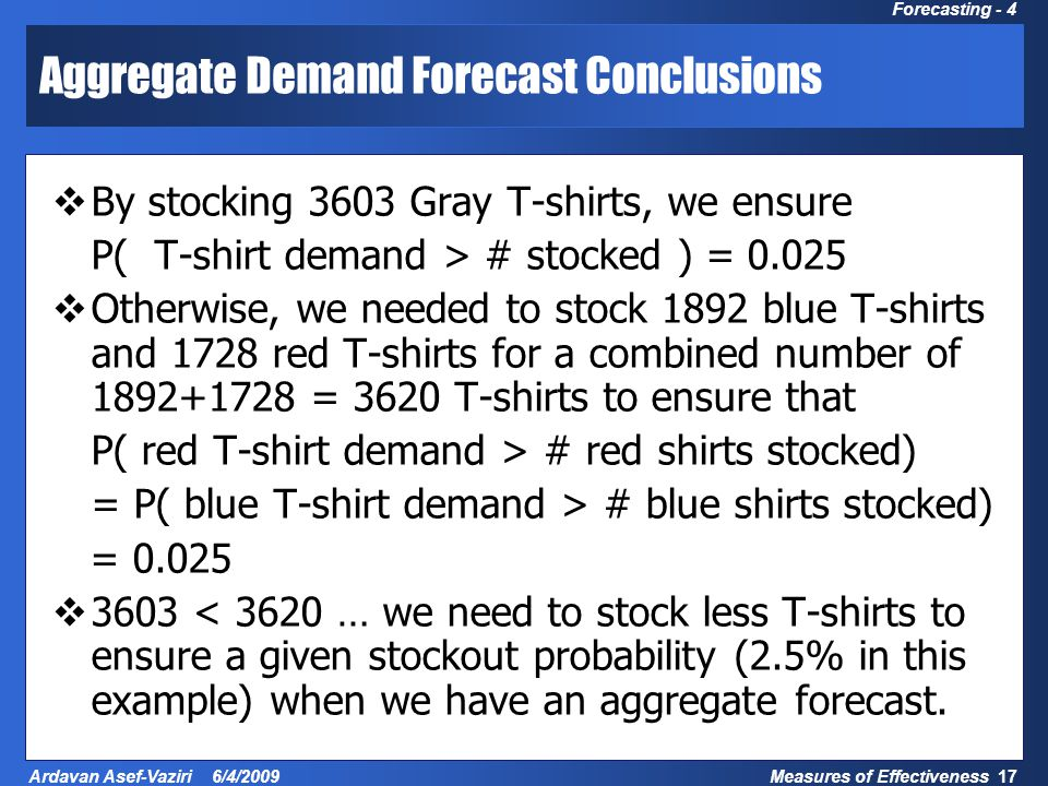 Measures of Effectiveness 17 Ardavan Asef-Vaziri 6/4/2009 Forecasting - 4 Aggregate Demand Forecast Conclusions  By stocking 3603 Gray T-shirts, we ensure P( T-shirt demand > # stocked ) = 0.025  Otherwise, we needed to stock 1892 blue T-shirts and 1728 red T-shirts for a combined number of 1892+1728 = 3620 T-shirts to ensure that P( red T-shirt demand > # red shirts stocked) = P( blue T-shirt demand > # blue shirts stocked) = 0.025  3603 < 3620 … we need to stock less T-shirts to ensure a given stockout probability (2.5% in this example) when we have an aggregate forecast.