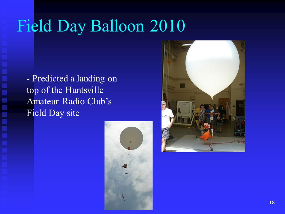 18 Field Day Balloon 2010 - Predicted a landing on top of the Huntsville Amateur Radio Club's Field Day site