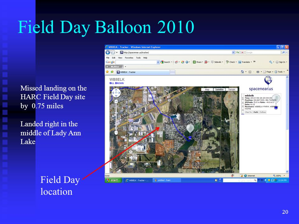20 Field Day Balloon 2010 Missed landing on the HARC Field Day site by 0.75 miles Landed right in the middle of Lady Ann Lake Field Day location
