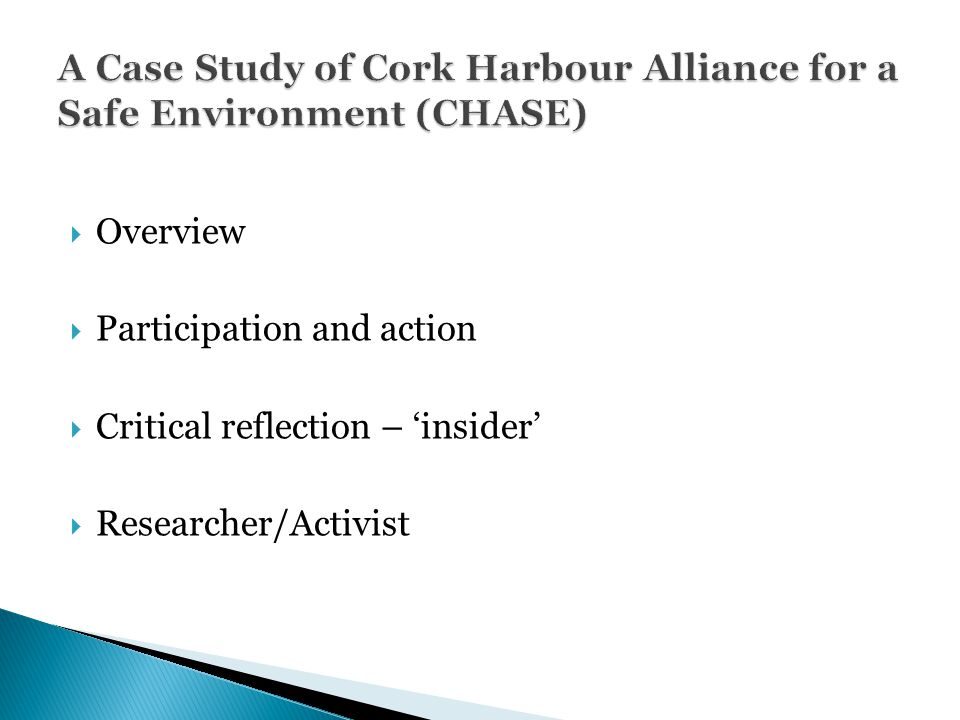  Overview  Participation and action  Critical reflection – 'insider'  Researcher/Activist