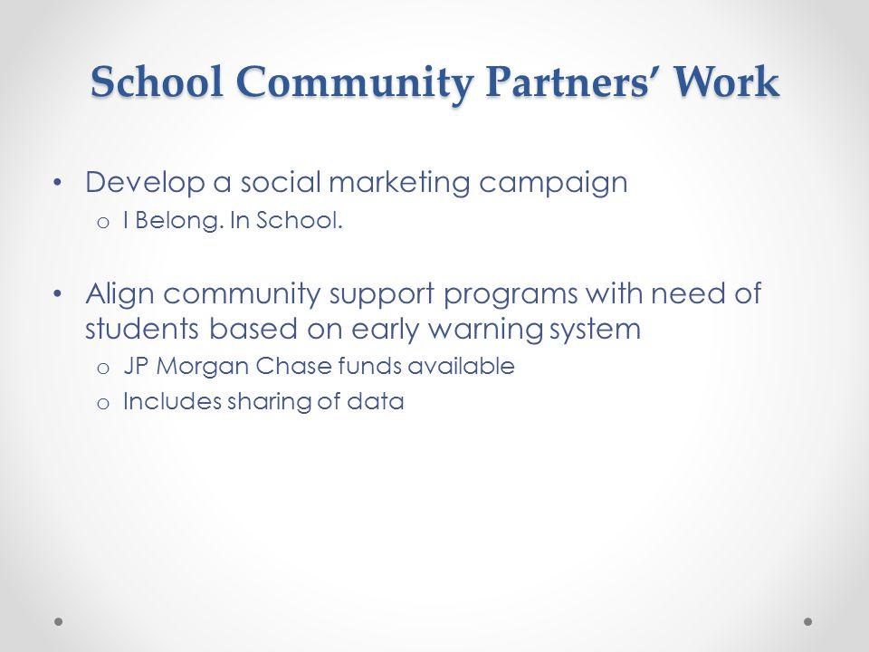 School Community Partners' Work Develop a social marketing campaign o I Belong.