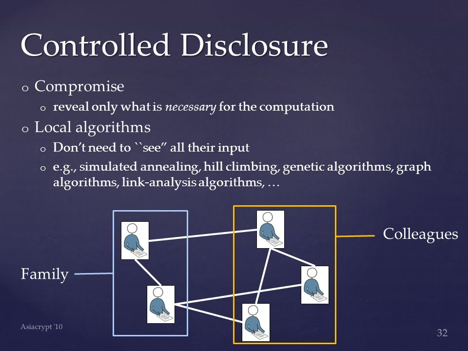 o o Compromise o o reveal only what is necessary for the computation o o Local algorithms o o Don't need to ``see all their input o o e.g., simulated annealing, hill climbing, genetic algorithms, graph algorithms, link-analysis algorithms, … Controlled Disclosure 32 Asiacrypt 10 Family Colleagues