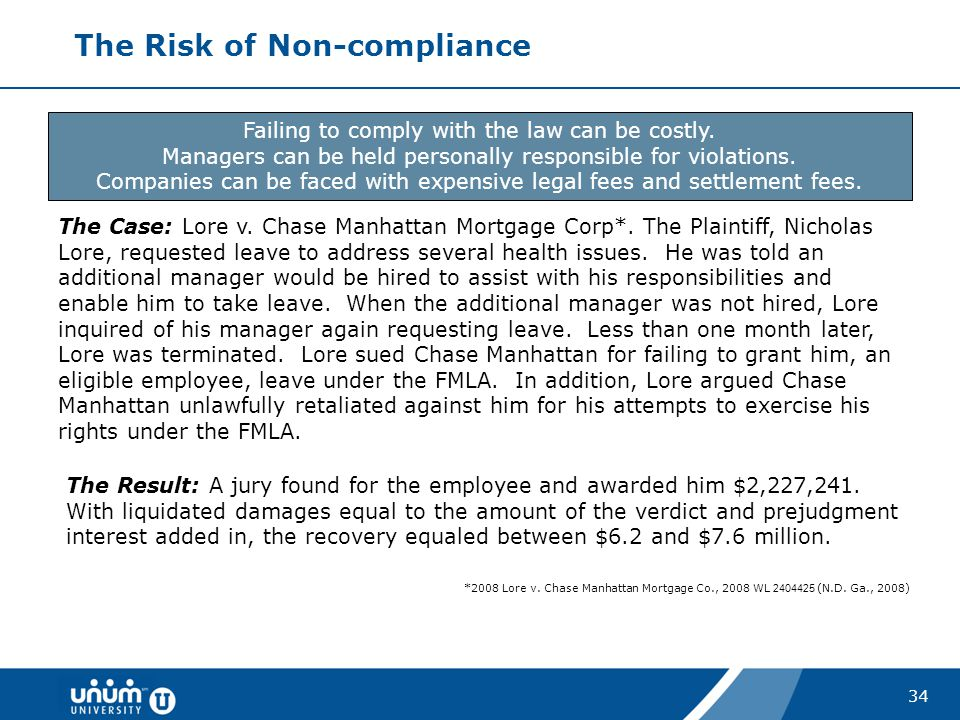 34 The Risk of Non-compliance Failing to comply with the law can be costly. Managers can be held personally responsible for violations. Companies can