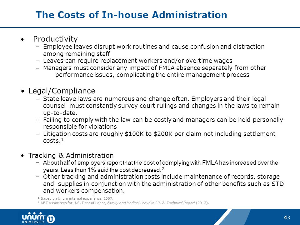 43 The Costs of In-house Administration Productivity –Employee leaves disrupt work routines and cause confusion and distraction among remaining staff
