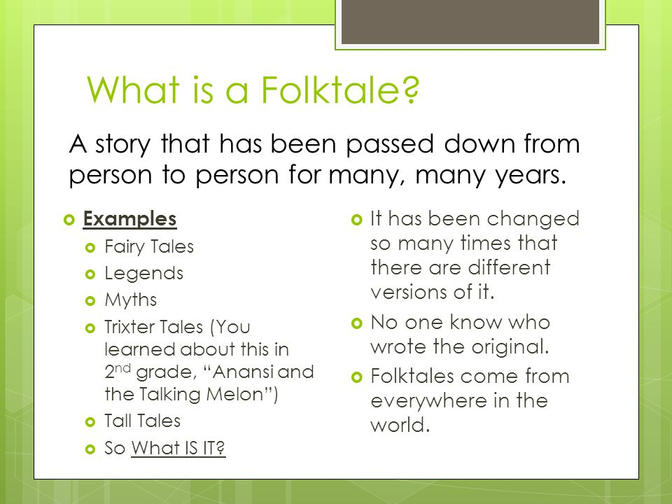 What is a Folktale.
