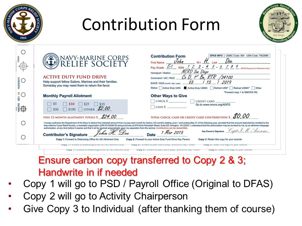 Contribution Form Ensure carbon copy transferred to Copy 2 & 3; Handwrite in if needed Ensure carbon copy transferred to Copy 2 & 3; Handwrite in if n