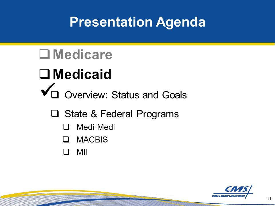 Presentation Agenda  Medicare  Medicaid  Overview: Status and Goals  State & Federal Programs  Medi-Medi  MACBIS  MII 11
