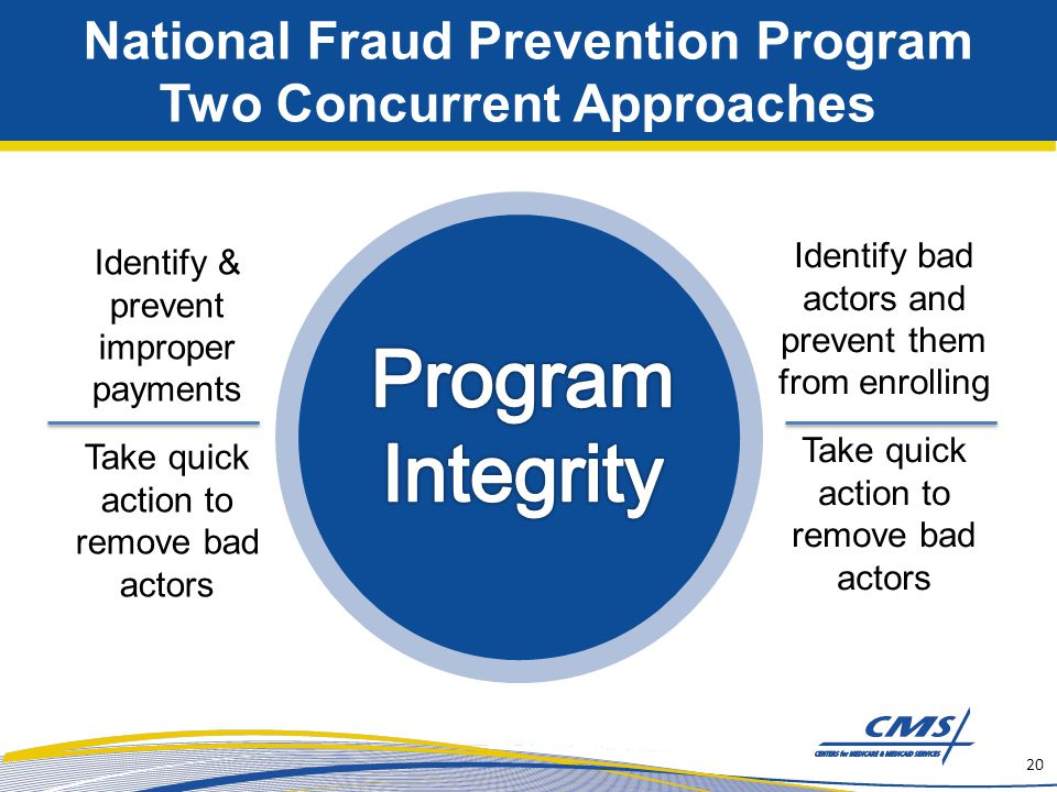 National Fraud Prevention Program Two Concurrent Approaches 20 Identify bad actors and prevent them from enrolling Take quick action to remove bad act