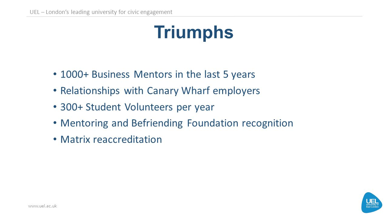 UEL – London's leading university for civic engagement www.uel.ac.uk Triumphs 1000+ Business Mentors in the last 5 years Relationships with Canary Wharf employers 300+ Student Volunteers per year Mentoring and Befriending Foundation recognition Matrix reaccreditation