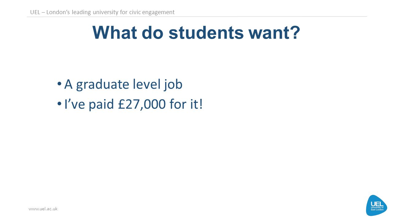UEL – London's leading university for civic engagement www.uel.ac.uk What do students want.