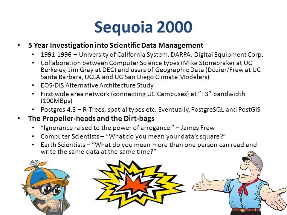 Sequoia 2000 5 Year Investigation into Scientific Data Management 1991-1996 – University of California System, DARPA, Digital Equipment Corp. Collabor